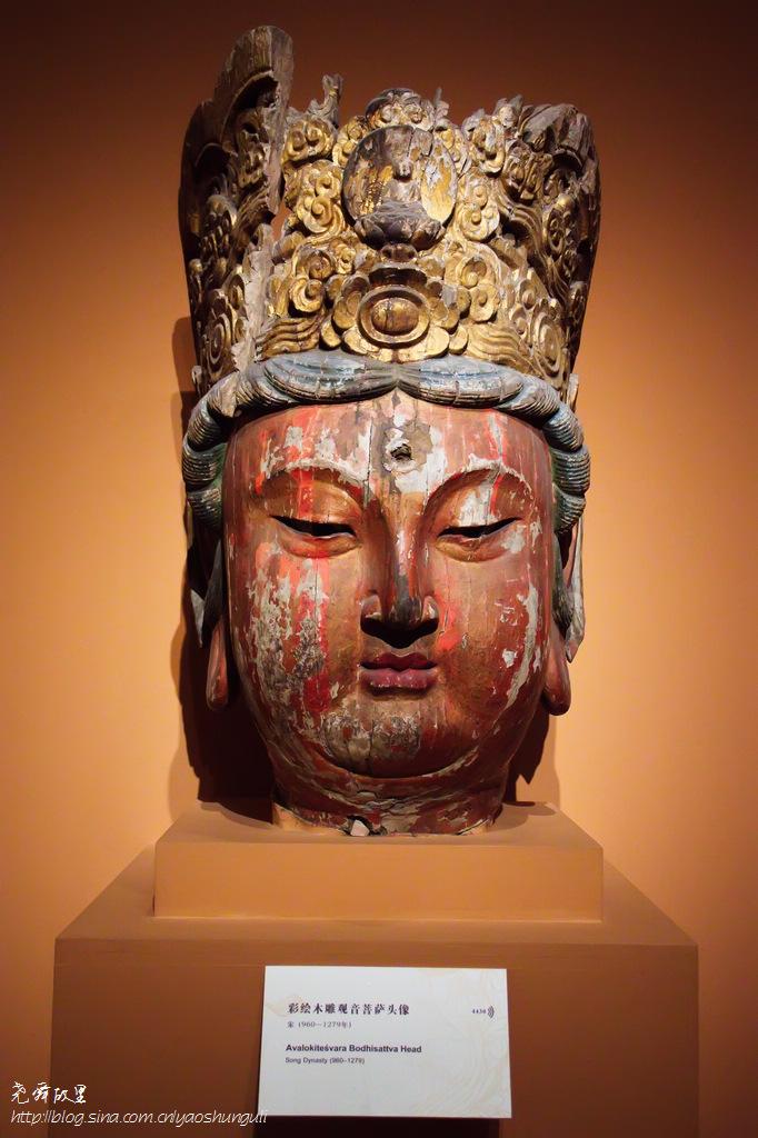 国宝级佛像系列(1)彩绘木雕观音菩萨头像