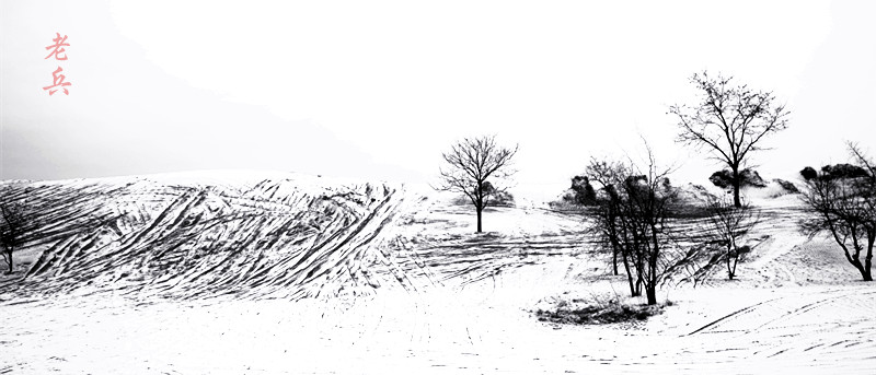 手绘线稿农村小景