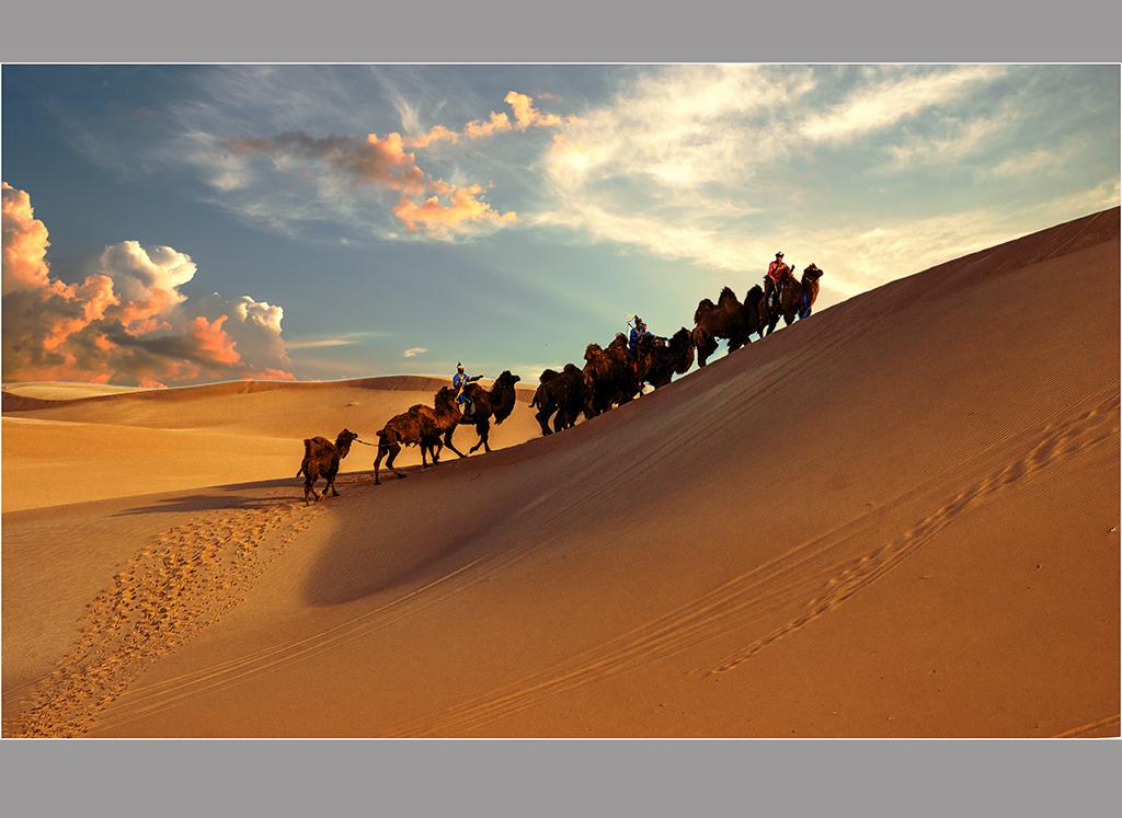 夕阳下的大漠