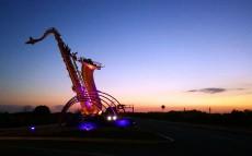 夜幕下的哈尔滨音乐公园